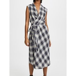 NWOT Vince 90s inspired plaid wrap dress